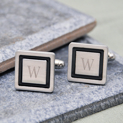Personalized Cufflinks with Black Border