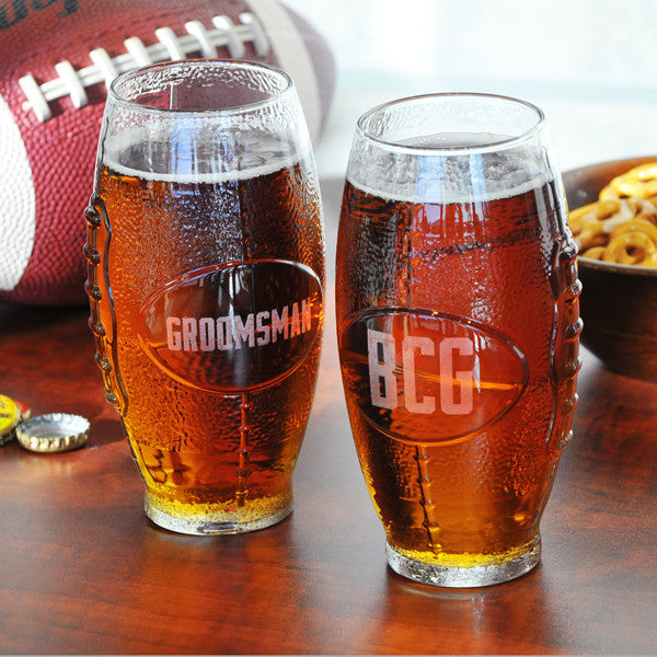 Personalized Glass Football Tumbler - Personalized Gifts for Men - GUYVILLE