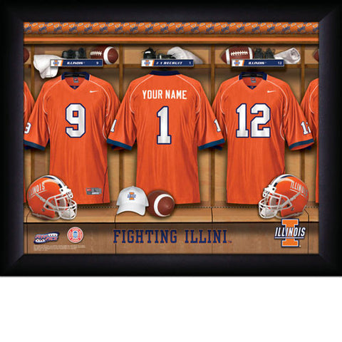 Personalized Illinois Fighting Illini Football Locker Room Signs