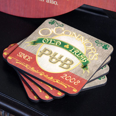 Personalized Irish Pub Coasters (4) - Personalized Gifts for Men - GUYVILLE