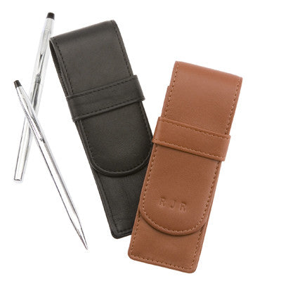 Personalized Leather Double Pen Case