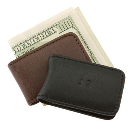 Personalized Magnetic Nappa Leather Money Clip