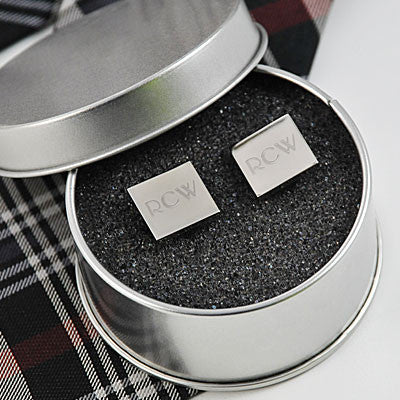 Personalized Silver Square Cufflinks - Personalized Gifts for Men - GUYVILLE