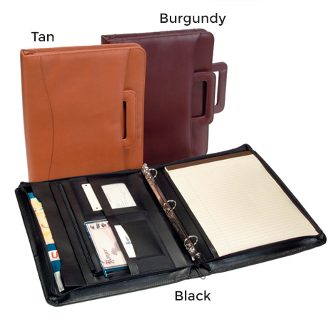 Personalized Zip Around Nappa  Leather Padfolio