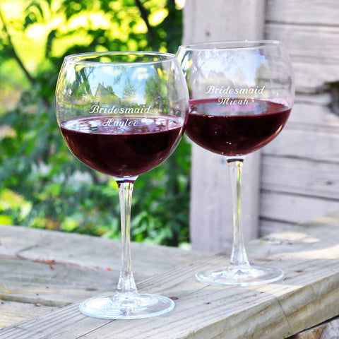 Set of 2 Personalized Red Wine Glasses