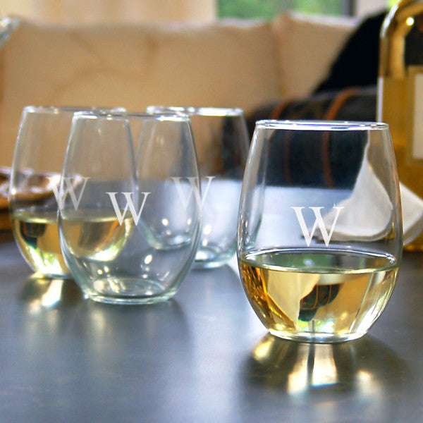 Stemless Wine Glass with Personalization (Set of 4)