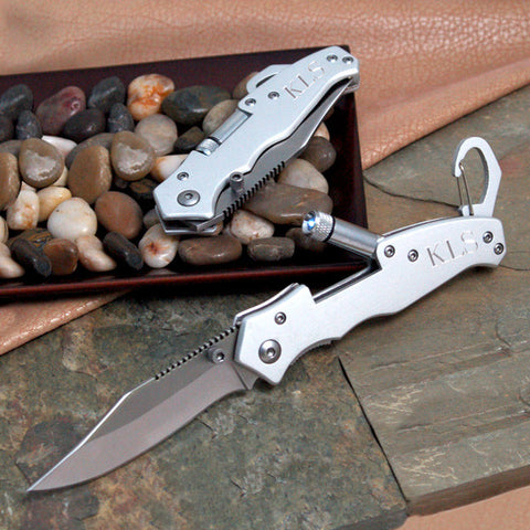 Utility Pocket Knife With Flashlight - Personalized