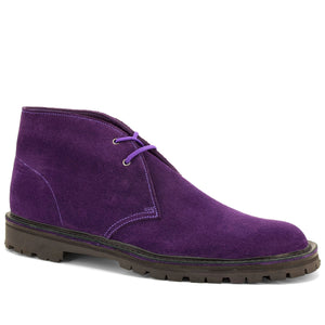 Plum Suede Desert Boots - Made in England - JADD Shoes