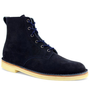 Desert Hi Top Boots Navy Suede Made in England