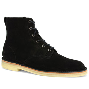 Desert Hi Top Boots Black Suede Made in England