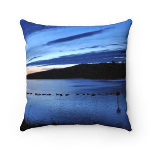Incredible Blue Sunrise Faux Suede Pillow