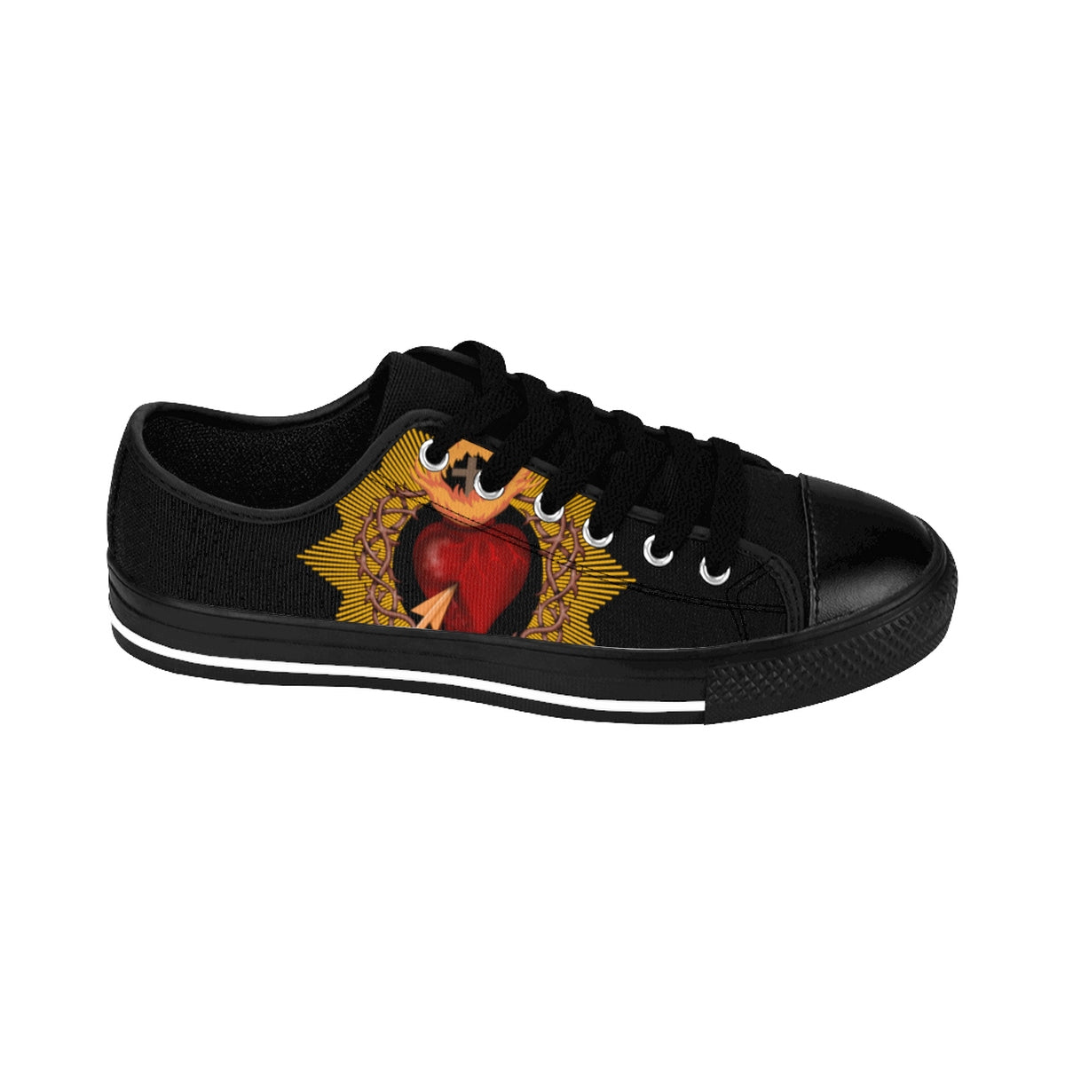 Men's Black Sacred Heart Sneakers (order one size larger than needed)