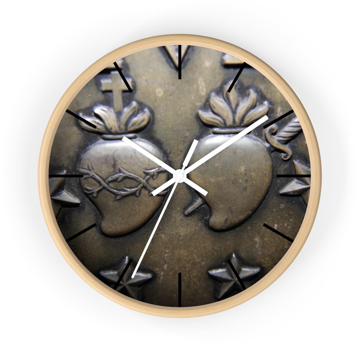 Two Hearts Miraculous Medal Wall clock