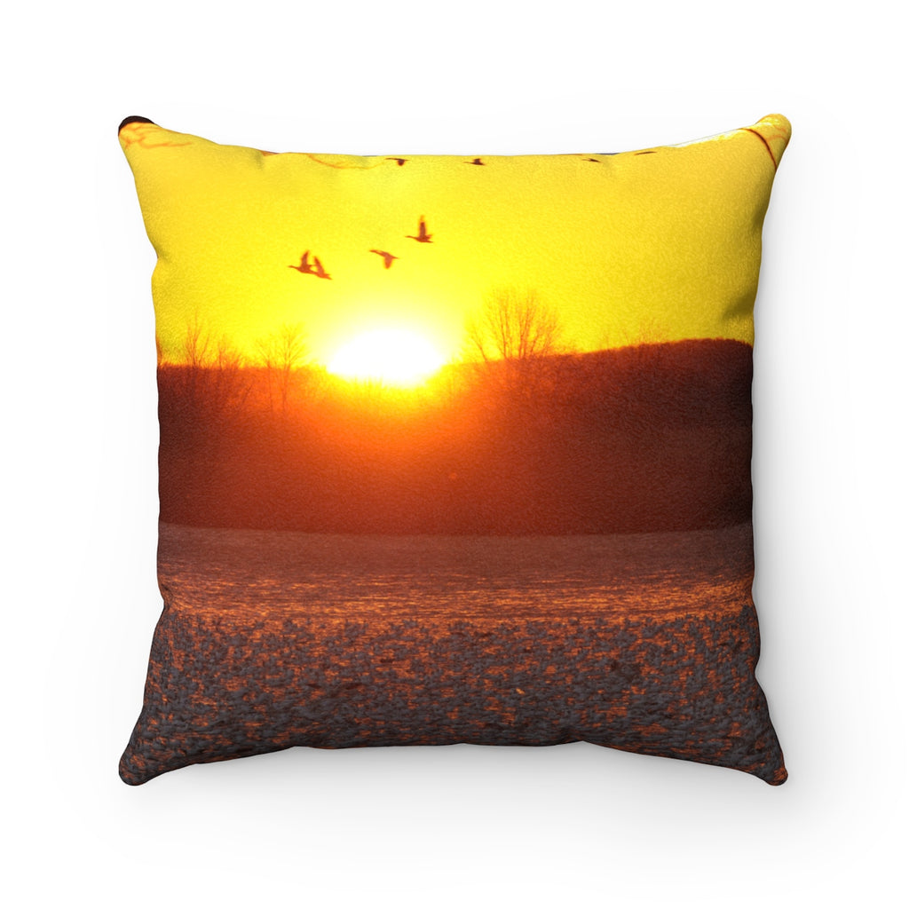 Luxurious Sunrise Faux Suede Square Pillow