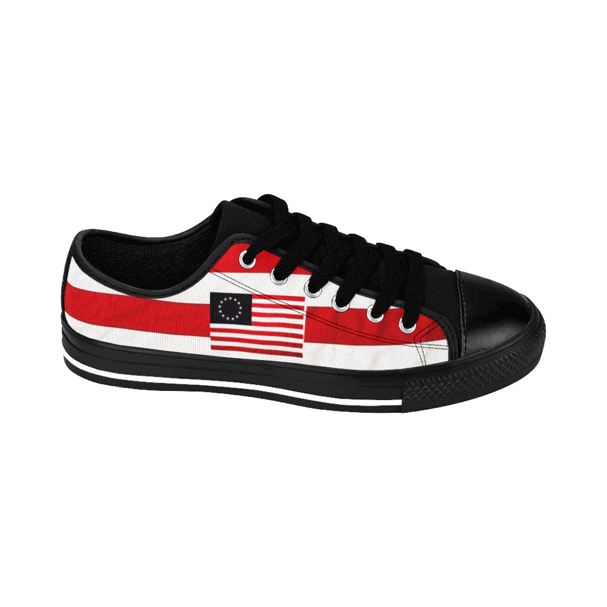 Men's Betsy Ross Flag Low Top Sneakers (See foot chart before ordering)