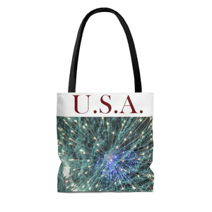 USA Fireworks AOP Tote Bag