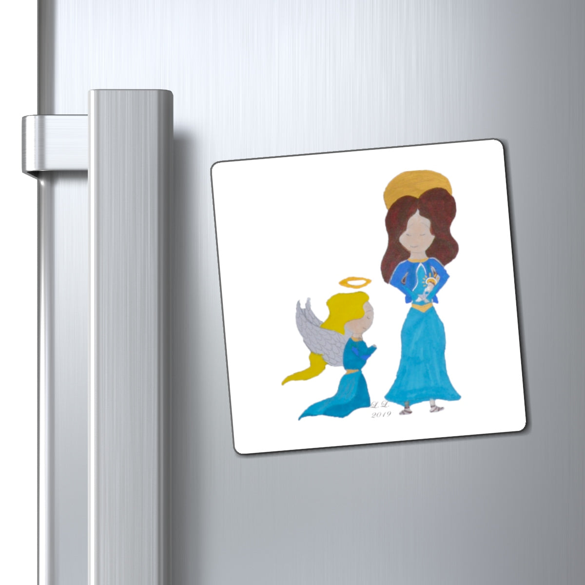 Angel, Mary, Baby Jesus Magnets by Lai Lai