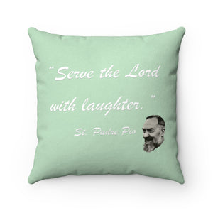Padre Pio Faux Suede Square Pillow (double-sided)