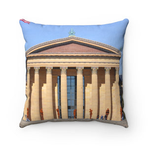 Art Museum Faux Suede Square Pillow