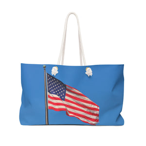 American Flag Against Sky Weekender Bag