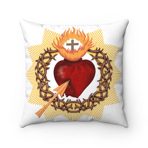 Sacred Heart Faux Suede Square Pillow