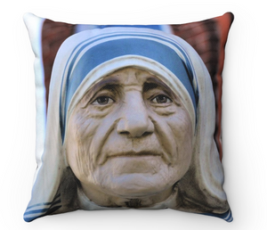 Mother Teresa/Rose Window Spun Polyester Square Pillow