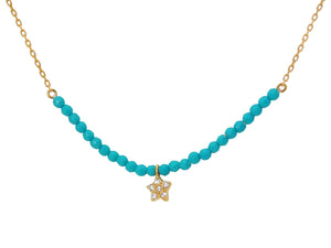 "Silver Gold Plated Center Turquoise Beads Cz Flower Charm 16""+2"""