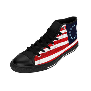 Betsy Ross Men's High-top Sneakers Blue Background (runs small, order one size larger)