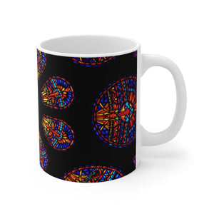 Close-up Rose Stained Glass White Ceramic Mug