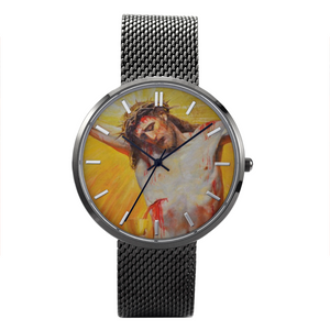 Crucified Jesus Quartz Watch With Stainless Steel Band Waterproof up to 30 Meters (free shipping!)