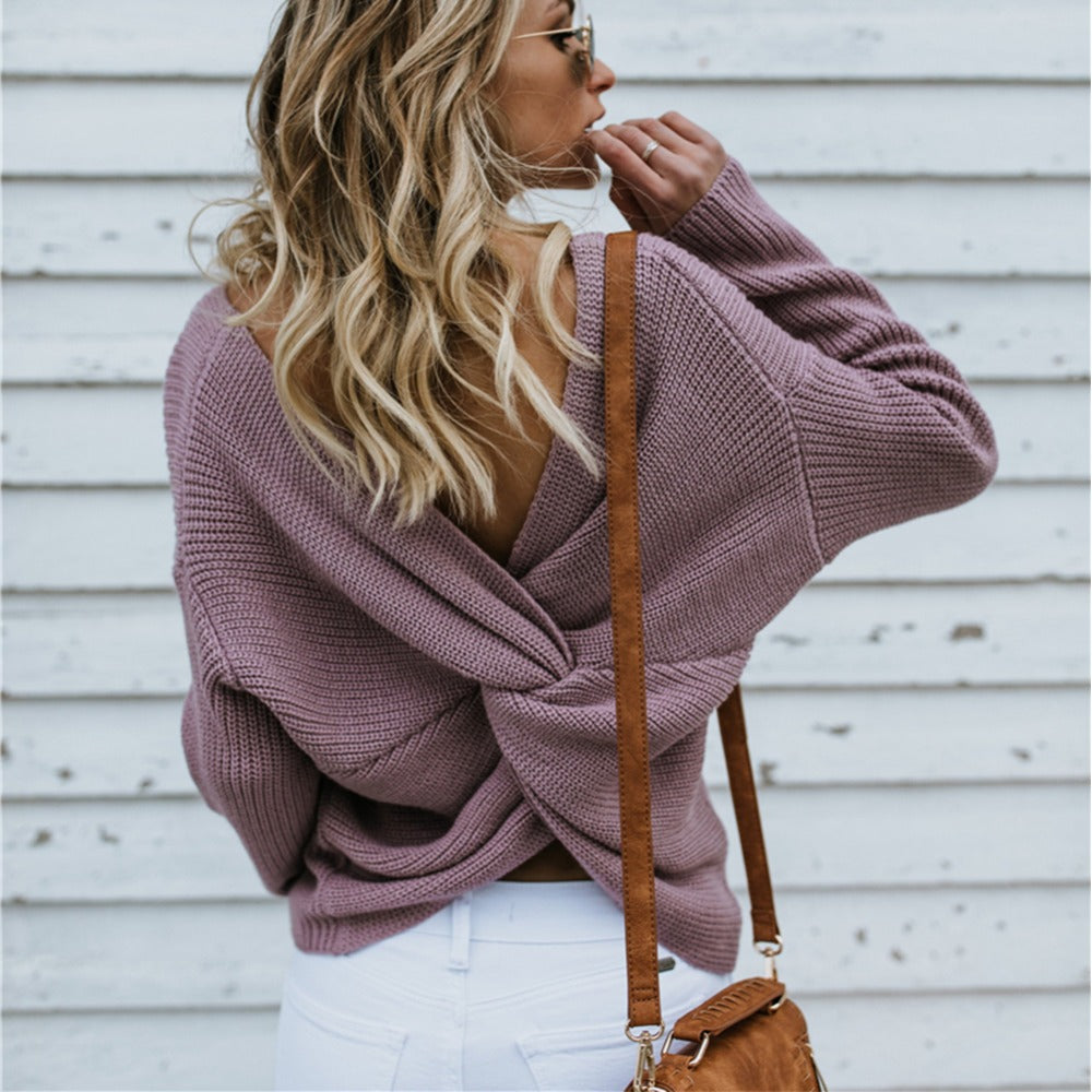 Backless Cross Pullover Sweater