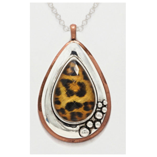 Unique Leopard Print Cabochon Teardrop Necklace Set