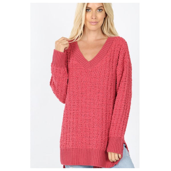 Classic V Neck Rose Popcorn Sweater