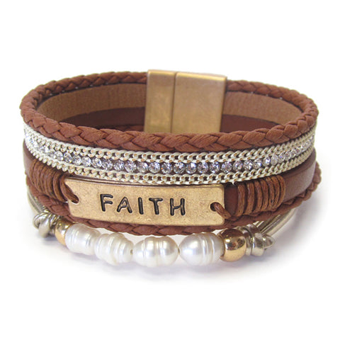 Beautiful FAITH Leather Wrap Magnetic Bracelet