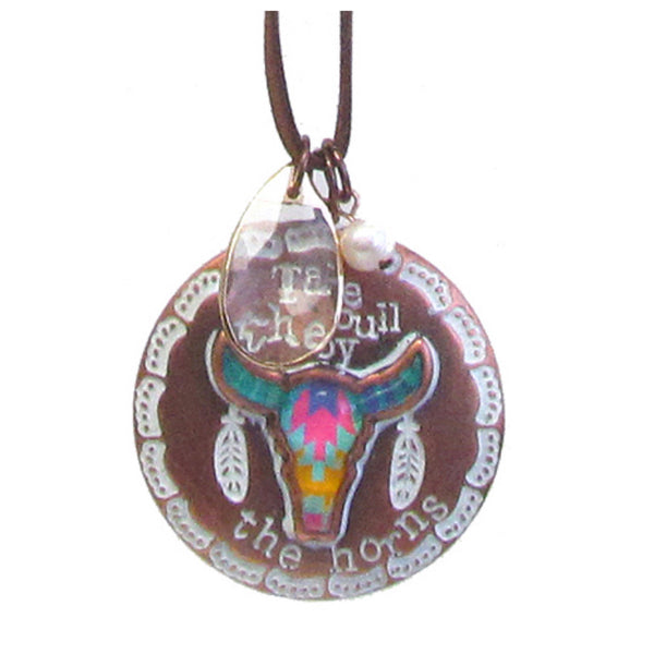 Take the Bull by the Horns Long Pendant Necklace