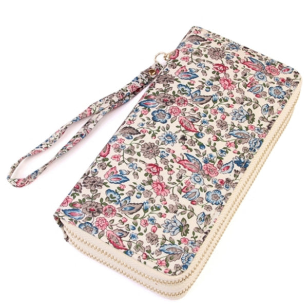 Pink, Blue Floral Thick Faux Leather Dual Side Wallet
