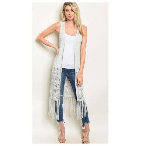 Sassy Me, Fringe Trim Embroider Sleeveless Grey Kimono