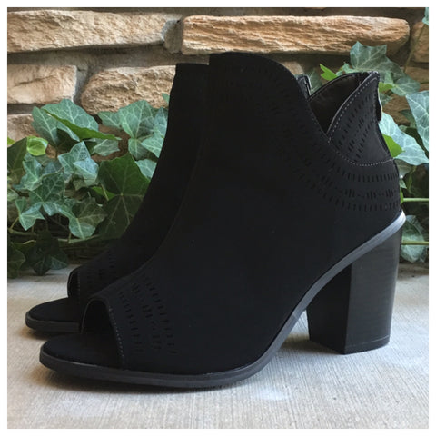 Sassy Me, Peep Toe Black Ankle Heel Booties