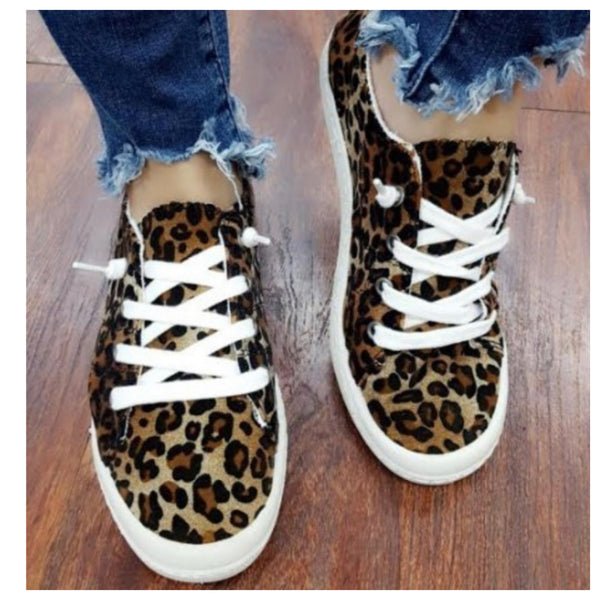 Crazy Cute Lace Up Leopard Sneakers