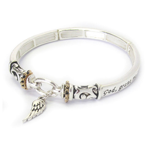 Inspirational Engraved Serenity Prayer Silver Bracelet