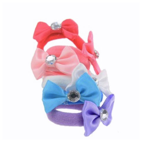 Adorable Set of 5 Little Princess Bow with Diamond Hair Ties