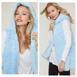 Adorable Me, Sherpa Hooded Baby Blue Vest Jacket