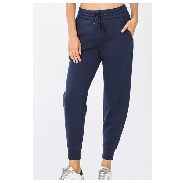 Cozy Me! Full Length Navy Jogger Sweatpants