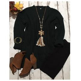 Cozy Cute Oversized Hunter Green Sweater