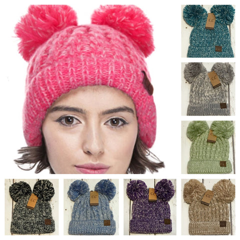 Thick Pepper Knit Minnie Mouse Pom CC Beanie
