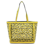Special Sale! 2 in 1:  Laser Cut Out Yellow Leather Shopper and Leopard Cross Body Bag