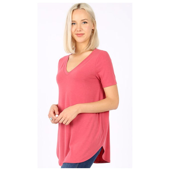 Your New Favorite! Classic V Neck Top - Rose