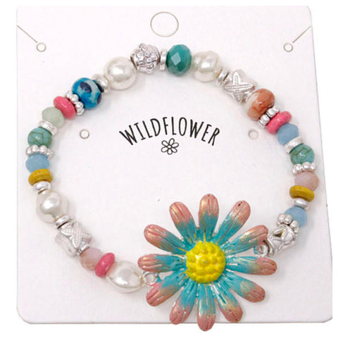 Marbled Bead Mix Teal Pink Wildflower Bracelet