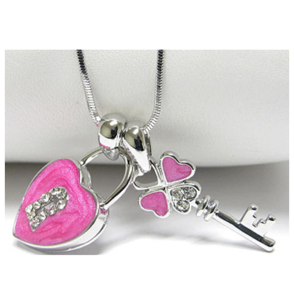 Stunning Crystal Accent Vibrant Pink Heart and Key Whitegold Necklace