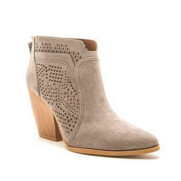 Adorable Grey Block Heel Bootie Boot by Quipid